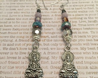 Quan Yin Earrings - OOAK Made With Czech Crystals In Blue, Lavender And Silver - Spiritual Jewelry Buy More Save More!