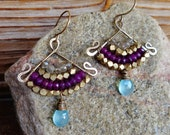 Interrupred. Hammered Artisan Boho Gold Brass Chandelier Drop Earrings with Wire Wrapped Purple and Aqua Chalcedony Gemstones-Boho Gypsy Art