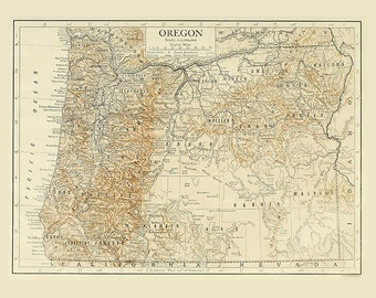 Vintage Map Oregon digital download