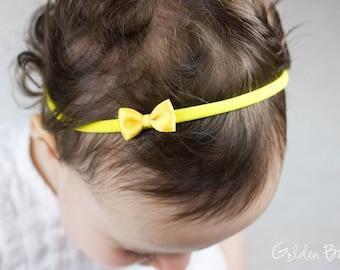 Little Yellow Baby Bow - Little Satin Yellow Bow Handmade Headband - Flower Girl Headband - Fits From Babies to Adults - Golden Beam