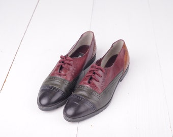 Vintage Ellemenno Four Tone Leather Oxford Shoes, Womens 6 1/2 / ITEM310