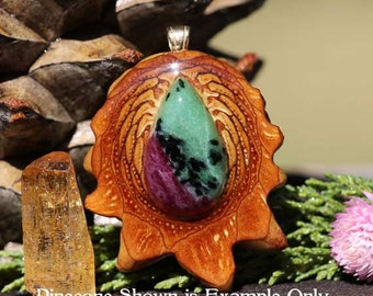 Ruby in Zoisite Third Eye Pinecone Pendant