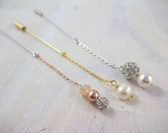 Simple Hijab Pin Set - Eid Gift - Ramadan Gift - Rose Gold Swarovski Pearl hijab pins