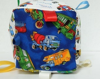 Childs' Soft Toy Block - Vehicle Prints - Squishy Block - Baby Shower Gift - Airplanes Cars Firetrucks - Hand and Eye Coordination Toy - Tag