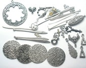 Destash Lot of Antiqued Silver Charms and Connectors