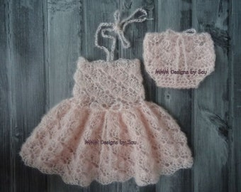 PDF Crochet Pattern - NEWBORN photography prop dainty blossom dress and bloomer SET #139