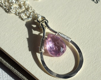 Pink Gemstone Necklace, Pink Zircon Necklace, Sterling Teardrop Necklace, Hammered Teardrop Pendant, Pendant Necklace, Briolette Necklace