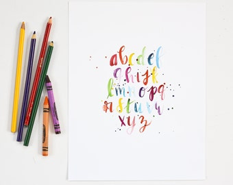 Alphabet Print, Nursery Print, Rainbow Kids Room Decor, Watercolor Print, Classroom Art, Teacher Gift, Colorful Children's Decor