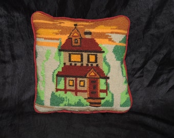 Vintage Farm House Design Needlepoint Pillow Brown Green Orange Cottage Small Accent Miniature Handmade