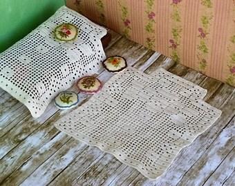 2 crochet bedspreads 4 embroidered pillows Handmade vintage dollhouse accessories miniature bedroom linens exquisite workmanship