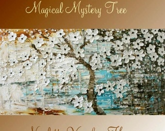 """SALE Oil Landscape Tree painting Abstract Original 48"""" palette knife """"Magical Mystery Tree"""" oil  impasto oil painting by Nicolette Vaughan H"""