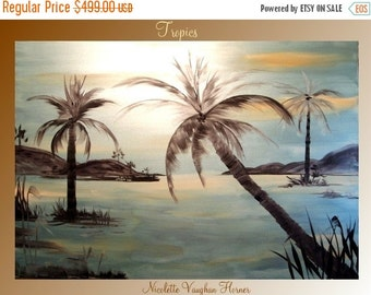 """Sale Original Contemporary  Acrylic painting,Tropical,Palm Trees, 48""""x36"""" ready to hang Free Shipping by Nicolette Vaughan Horner"""