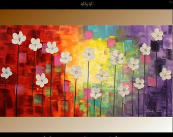 """XL Oil """"Dancing Petals"""" floral painting Abstract Original Modern 48"""" palette knife impasto oil painting by Nicolette Vaughan Horner"""