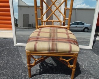 HAVE A SEAT / Wonderful Condition Chinese Chippendale Rattan Chair / Desk Chair /Hollywood Regency / Palm Beach Chic
