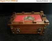 NOW ON SALE Vintage lion shield 1960s jewelry box retro rockabilly home decor collectibles