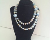 NOW ON SALE Vintage 50's Chunky Lucite Blue Beaded Bib Necklace Multi 2 Strand Retro Rockabilly Jewelry Martini Mermaid