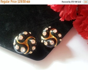 Now On Sale Vintage Rhinestone Earrings, Retro Rockabilly Vintage Jewelry, 1980's Collectible Costume Jewelry