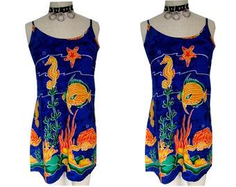 Summer Blue Fish Ocean Print Funky Beach Mini Dress