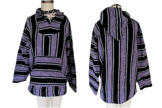 Purple Black Baja Mexican Drug Rug Striped Stoner Hoodie