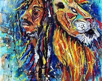 Bob marley poster,rasta, Jamaican, one love, iron lion zion, wall art, reggae, hippie, peace, gifts, original art, music, lion painting