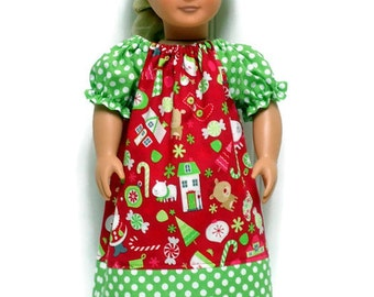 18 inch Doll Clothes Peasant Dress Red Christmas Green Polka Dot 15 inch Doll Clothes