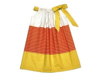 Girls Halloween Candy Corn Pillowcase Dress - Size 6-12 month, 12-18 month, 18 - 24 month, 2 / 3, 4 / 5, 6 / 7, 8 / 9