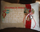 Christmas Heaven Saying Throw Pillow  Spiritual Throw Pillow Cover 12 by 16 Size Burlap Envelope