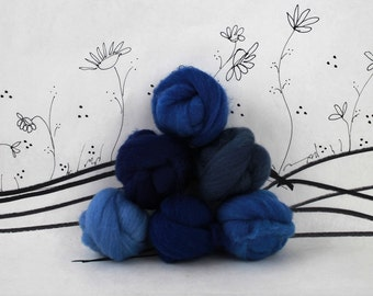 Wooly Buns wool roving assortment, 6 piece hand dyed blue fiber, needle felting supplies in Blueberries, 1.5 oz dark blue graduated shades