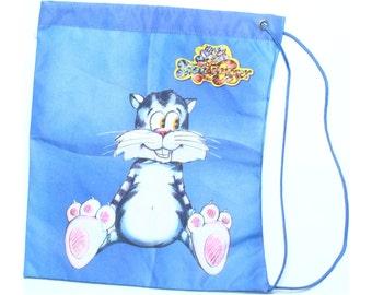 Vintage 90s Fred & Ginger Blue Canvas Drawstring Cartoon Cat Bag