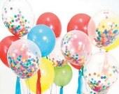 SALE 50% OFF Confetti Balloons with Tissue Tassel and Baker's Twine Set Birthday Balloons Balloon Bouquet Kit Balloon Set Tissue Confetti Ti