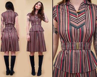 70s Vtg CHEVRON Stripe 2pc Collared Shirt & A Line Midi Skirt Set / Co Ord Matching Belted Set MOD Hippie Boho / Xs