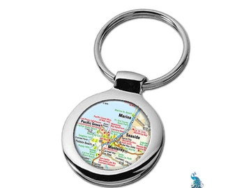 Map Keychain Monterey California Key Ring Fob
