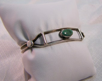 Old Pawn, Navajo Inspired Sterling and Green Turquoise Bangle Bracelet