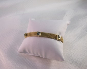1980's Givenchy Gold Mesh Bracelet with Topaz Rhinestones