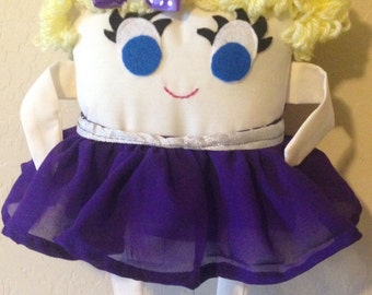 Purple Ballet Dancer Tooth Fairy Pillow with Fairy Receipts