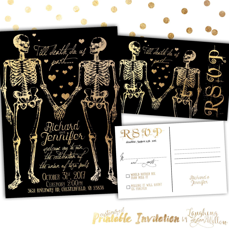 Halloween Wedding Invitation Skeleton Invitation Halloween