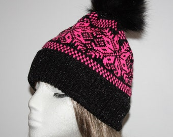 Black sparkly and Cerice Pink snowflakes with faux fur pompom bobble beanie hat