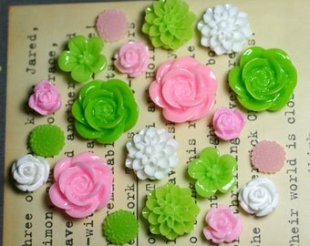 20pcs - Resin Flower Cabochons - Pink/White/Lime