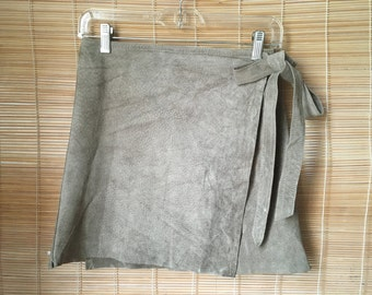 Vintage Grey Suede Hug Me Wrap Up Skirt With A Belt Size S