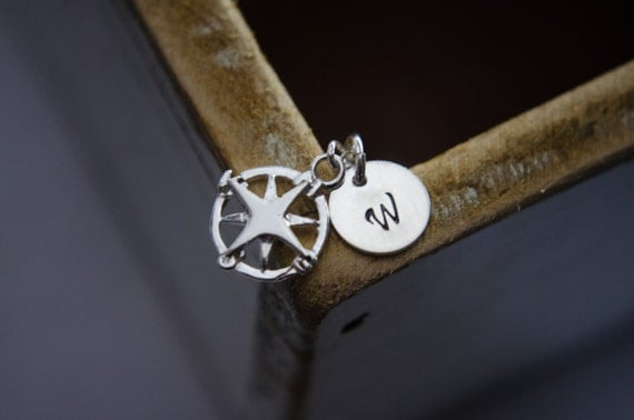 Compass Necklace - Sterling Silver - Initial Necklace