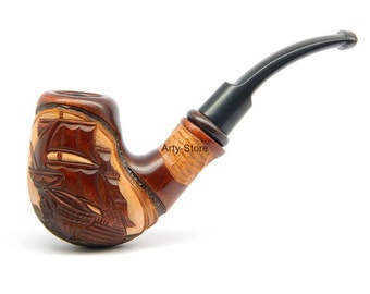 Tobacco Smoking pipe - Flying Dutchman Ship - Hand carved of pear wood  (9mm filter) New