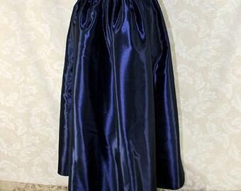 "Steampunk Renaissance Basic Skirt -- Dark Blue Taffeta -- Fits up to 40"" Waist, 38"" Length -- Ready to Ship"