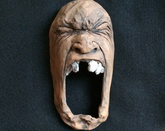 Furious Ceramic Face Wall Sculpture /Dark/