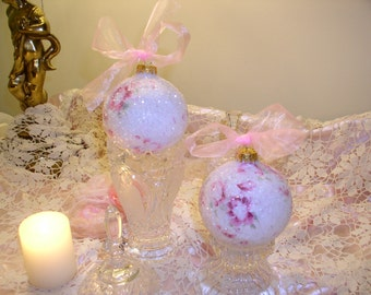 One Glittered Set of Two Shabby Cottage Chic Christmas Ball Ornaments in shades of Pink and Ruby Rose Print