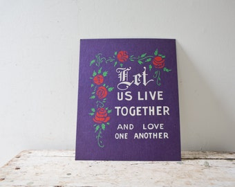 Love Sign - Purple - Vintage Sign Bright Colors Welcome Sign Paper Love one Another Live Together