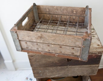 Vintage Metal Bottle Crate - Vintage Crate Pop Crate Soda Crate Vintage Wood Crate Wooden
