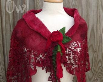 RESERVED for Oana red vintage lace Scarf - Nuno Felt-hippie boho - Faerie Scarf - shabby vintage-summer scarf- boho scarf
