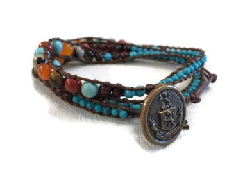 Turquoise tigers eye agate wrap bracelet button