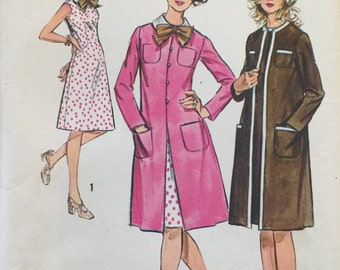 "Simplicity 9891 Misses' Dress and Coat Pattern, UNCUT, Size 16, Bust 38"", Vintage 1972, Wedding, Ensemble, Retro, Flashback,Sleeveless Dress"