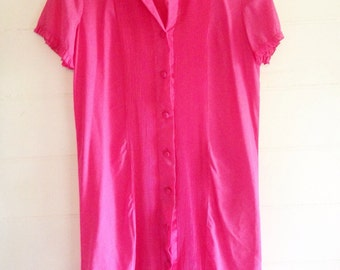 Hot pink 1960s cotton button up shift / house dress .